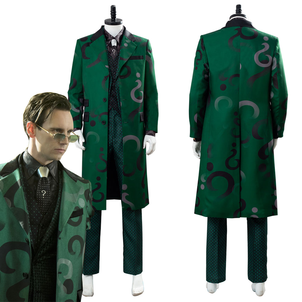 Gotham Season 5 The Riddler Edward Nygma Cosplay Costume Green Outfit Halloween Carnival Costumes Adult Men