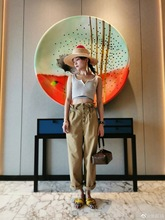 Stars with Khaki High Waist Drawstring Overalls Casual Pants 2019 Sashes Ankle-Length Fashion Women