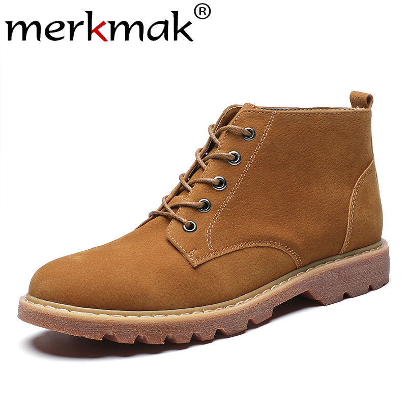 Merkmak Men Shoes Ankle-Boots Lace-Up Pointed-Toe Walking-Work Autumn Casual New British-Style