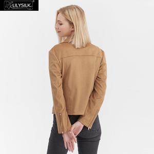 Image 3 - LilySilk מעיל Moto האופנה זמש נשים חדש משלוח חינם