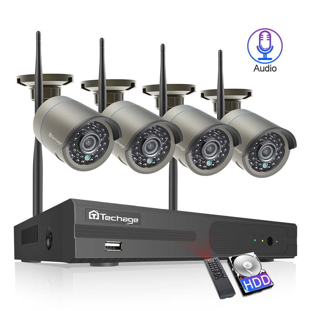 Techage H 265 4CH 1080P Wireless NVR Kit Wifi Security System 2MP Audio Sound Outdoor CCTV Innrech Market.com