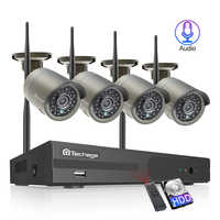 Techage H.265 4CH 1080P inalámbrico NVR Kit sistema de seguridad Wifi 2MP Audio sonido exterior CCTV IP Cámara P2P Video Vigilancia Conjunto