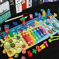 Обучающие деревянные игрушки Монтессори для детей, доска, математическая Веселая Магнитная рыбалка, восемь тонов, перкуссионные фрукты, жи...