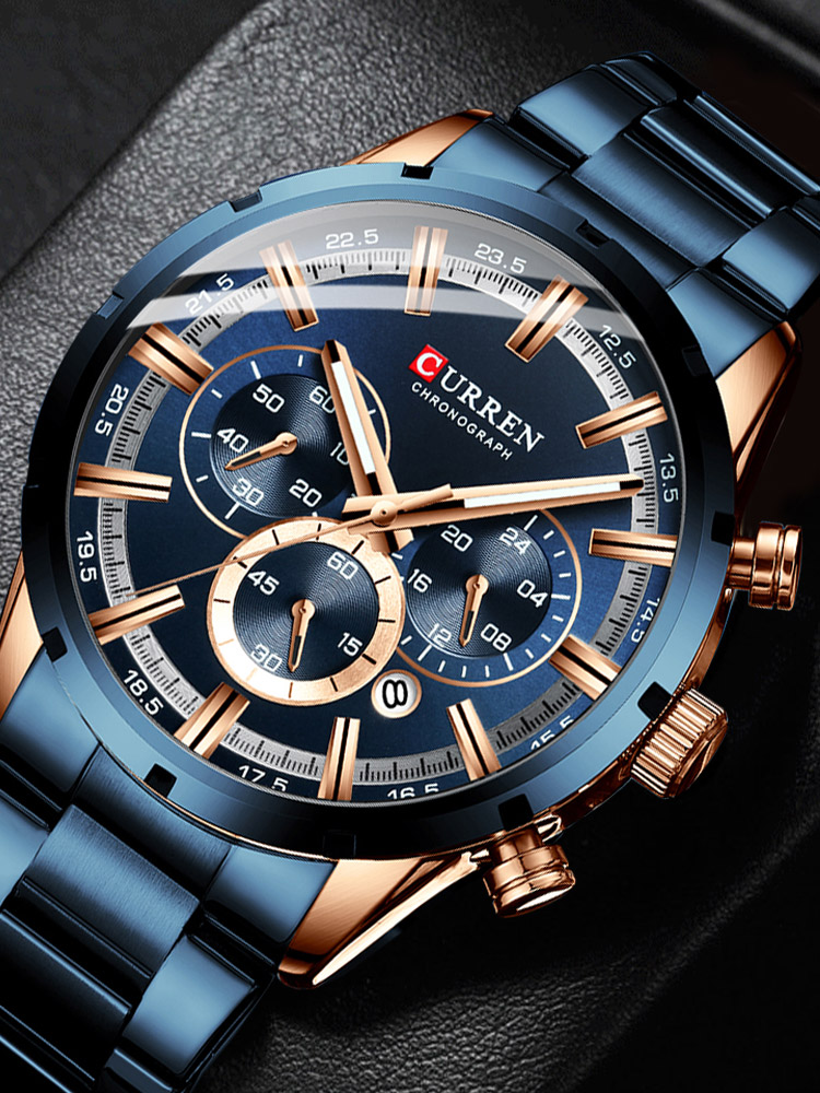 Watches Chronograph Stainless-Steel Sports Top-Brand Men New-Fashion Luxury CURREN Relogio