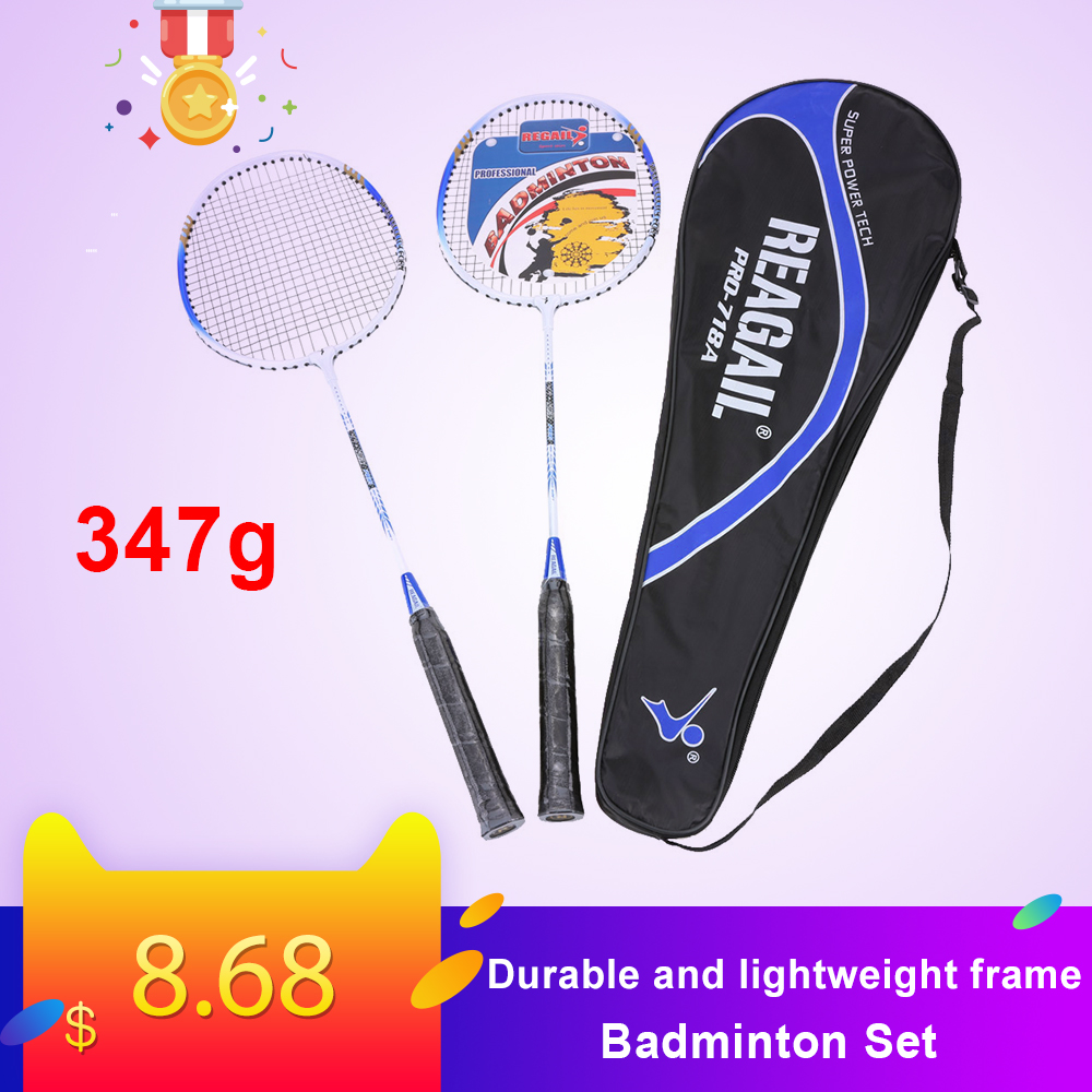 Lightweight Badminton Set 2Pcs/Set Durable Aluminium Alloy Training Badminton Racket Racquet With Carry Bag Sport Equipment