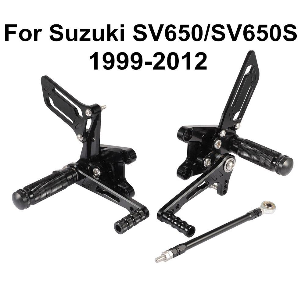 Black For Suzuki SV650 SV650S SV 650 S 1999- 2012 Motorcycle CNC Adjustable Rider Rear Sets Rearset Footrest Foot Pegs D40
