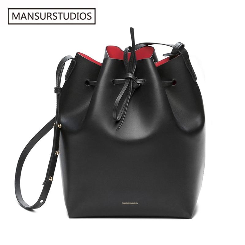 Newest MANSURSTUDIOS Bucket Bag, Mansur Women Real Leather Shoulder Bag ,Gavriel Ladies Leather Crossbody Bag, Free Shipping