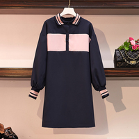 Actual Large size Women's Fat Mm Autumn Dress Polo Collar Collision Color Belly covering Age reducing Loose St