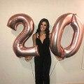 2 шт. 32/40 дюймов розовое Золотое серебряное число шарики гигантский цифры 25th праздничных воздушных шаров