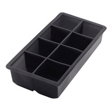 Black 8 Big Ice Tray Mold Giant Jumbo Large Silicone Ice Cube Square Tray  Mold  DIY Ice Maker ice cube tray Kitchen Tools round sphere ice mold silicone ice cube ball maker silicone ice cube tray pp whisky drink beverage kitchen tools