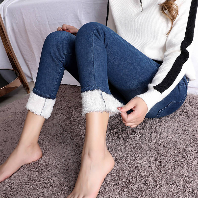 Super Warm Plus Size Winter Jeans for Women Female High Waist Skinny Thick Casual Trousers Stretch