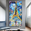 Couple in Starry Night Looking at the Eiffel Tower Painting Printed on Canvas 1