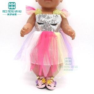 Image 2 - בגדי בובת שמלת פאייטים נעלי fit 43 45cm תינוק צעצוע חדש נולד בובת ואמריקאי בובת אבזרים ילדה של מתנה