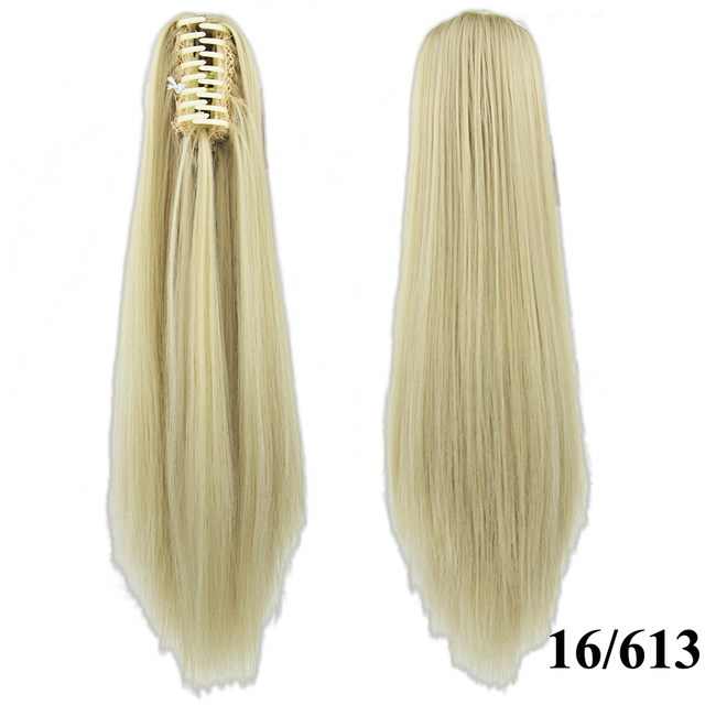 Soowee 24inch Long Gray Blonde Wavy Clip on Hairpiece Extensions Pony Tail High Temperature Fiber Synthetic Hair Claw Ponytails 5