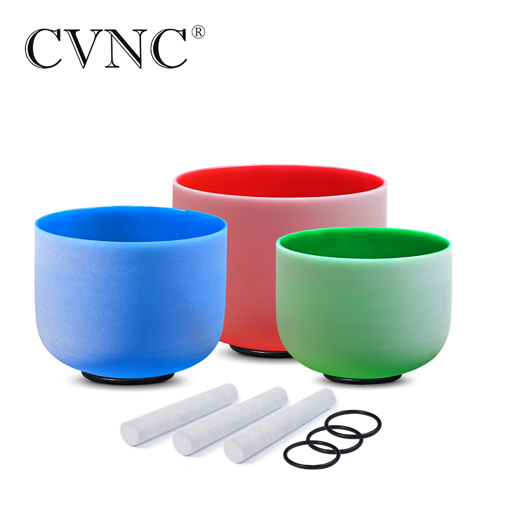 "CVNC 432Hz 12""C 10""G 8""F 3PCS Color Frosted Quartz Crystal Singing Bowls"