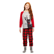 Christmas Lovely Causal Children's Christmas set 2PCS Long Sleeve Cartoon Sweatshirt Tops+Plaid Pants Outfit 1-6Y