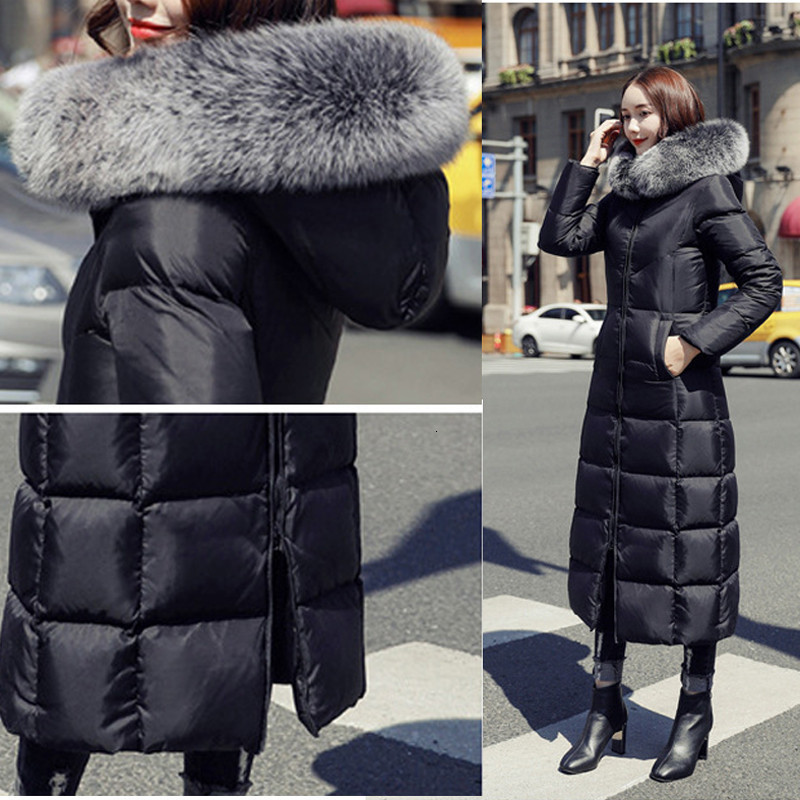 2019 Plus Size White Duck Down Jacket Raccoon Fur Fashion Winter Parka Long Thick Warm Goose Feather Coat Woman Clothing DD077 - 6