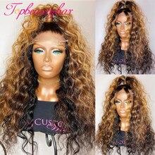 Topbeautybar destaque loira perucas da parte dianteira do laço para as mulheres 180% encaracolado marrom brasileiro frente do laço perucas de cabelo humano preplucked
