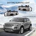 СВЕТОДИОДНЫЙ DRL Противотуманные светильник для Land Rover Range Rover Evoque 2011-2015 туман светильник s крышка гриль Чехлы рамка дневные ходовые огни свети...