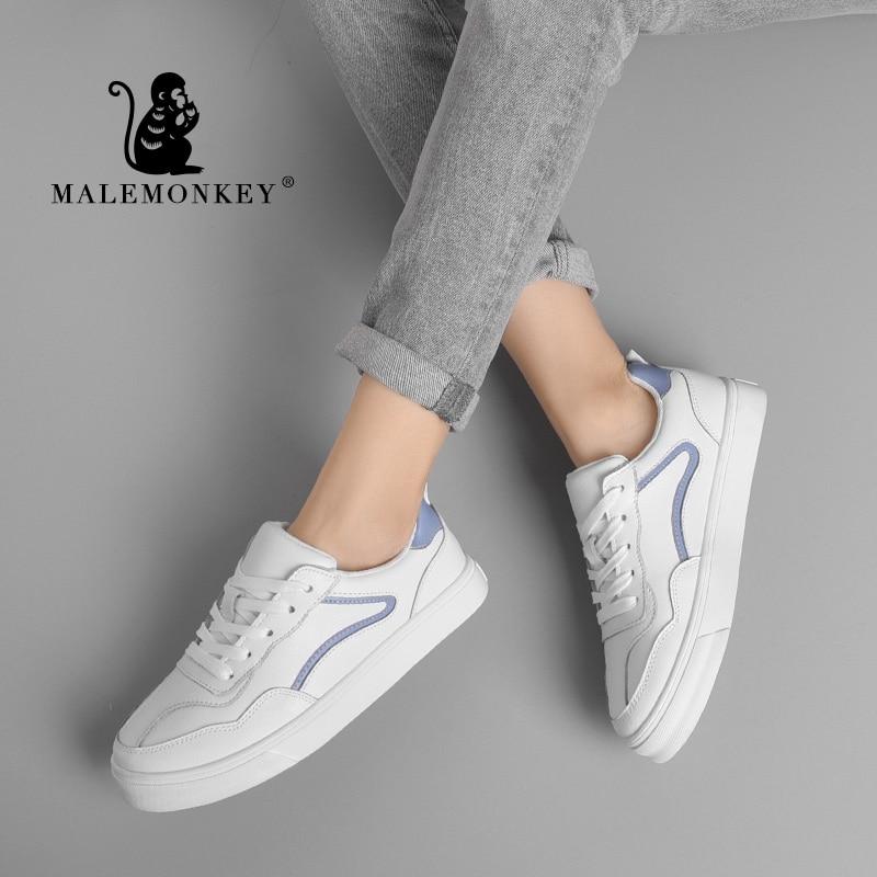 MALEMONKEY 912103 Women Sport Sneakers Genuine Leather Non-slip Wearproof Walk Casual White Shoes Comfortable Flat Bottom Women