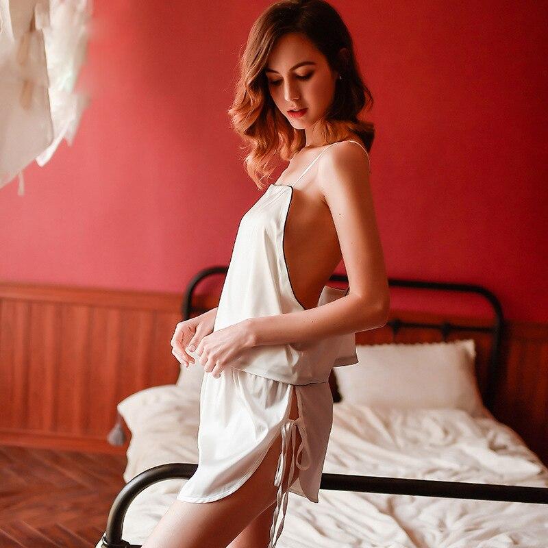 sexy female silk ice silk backless casual loose sling sleepwear two piece suit home service pajamas set in Pajama Sets from Underwear Sleepwears