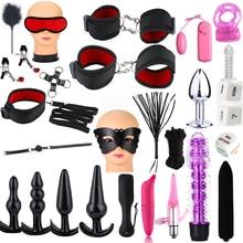 Sex Toys for Woman Bdsm Sex Adult Games Handcuffs Whip Mouth Gag Rope Metal Butt Plug Bdsm Bondage Set Bead Anal plug Vibrator