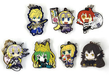 7pcs/lot Fate stay night / Fate/Grand Order/FGO Original Japanese anime figure rubber mobile phone charms keychain strap D446 fate grand order fgo anime saber mordred joan of arc frankenstein summer swimsuit rubber keychain