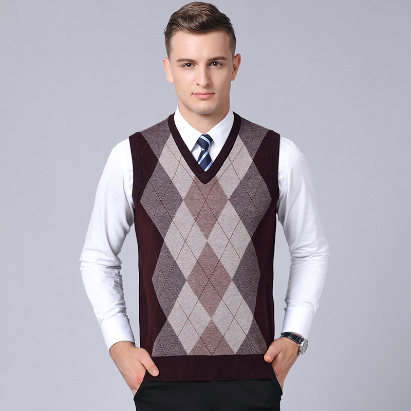 High Quality Male PatchworK Color Wool Sweater Vest Autumn Winter Men Argyle Pattern Sleeveless Cashmere Sweater Free Shipping