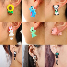 Handmade Polymer Clay Animal Stud Earrings For Women Cute 3D Cartoon Colorful Je