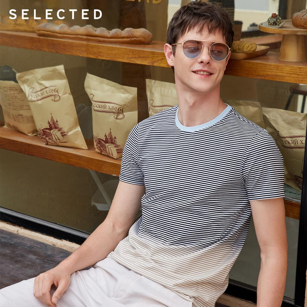 SELECTED 100% Cotton Striped Gradient O-Neck Short-sleeved T-shirt S|419201599