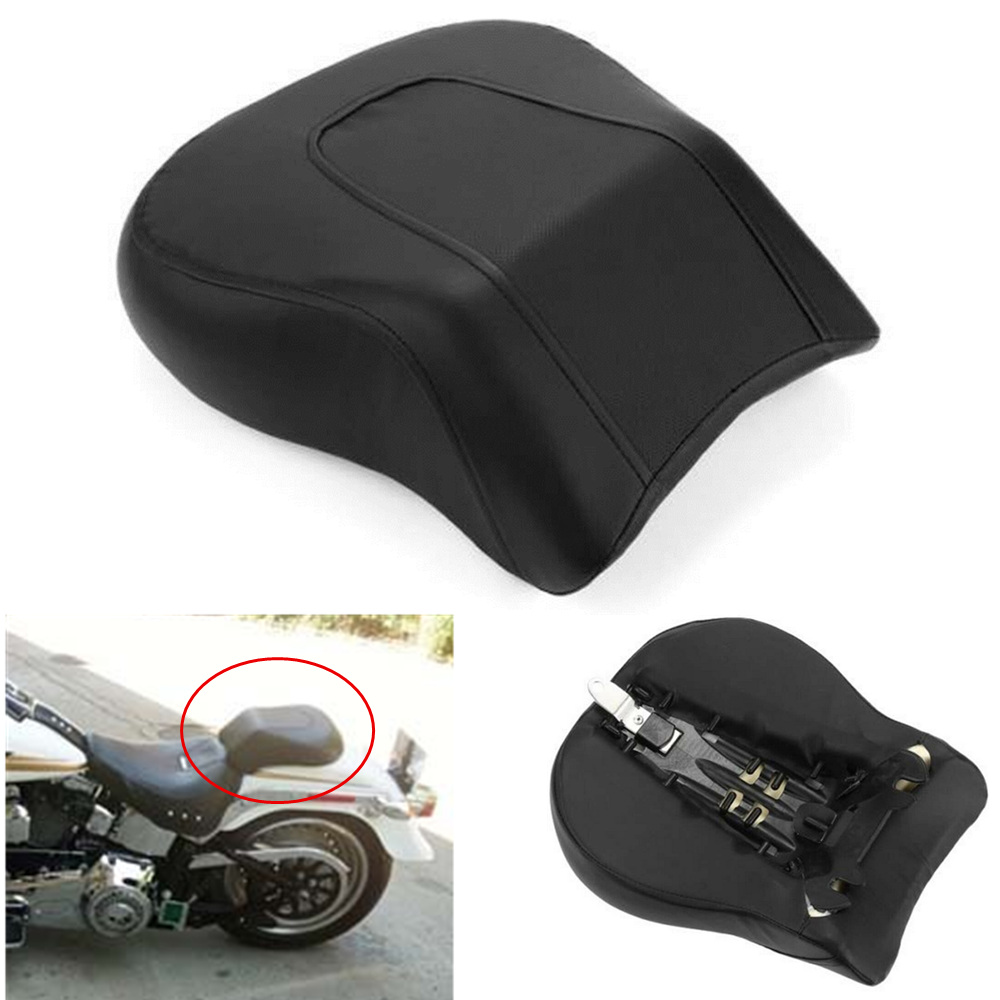 For Harley Fat Boy FLSTF 2008-2014 Black Rear Pillion Passenger Seat Pad Cushion Motorcycle Accessories 2009 2010 2011 2012 2013