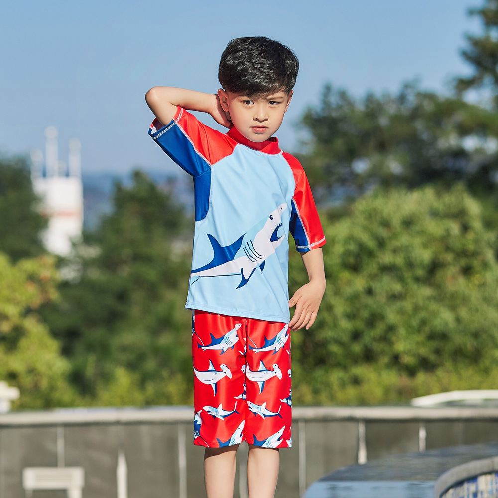 New Style Children Split Type Swimsuit Male Baby Bubble Hot Spring Swimsuit For Boys Handsome Cute Sports Olive Flower 1059