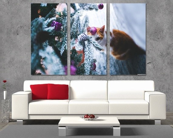 Modern Colorful Photo Picture Cat Under Christmas Tree Room Decor Animals Canvas Art Painting Living Bedroom
