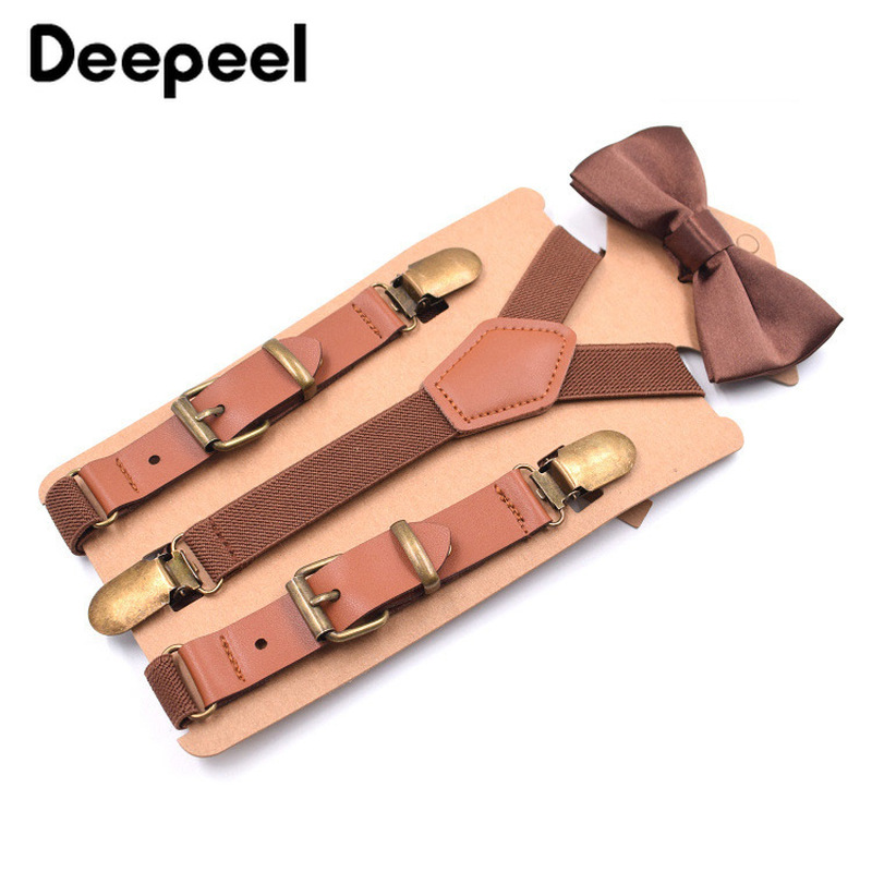 Deepeel Children's 3 Clip Fashion Y-shaped Strap Clip Casual Suspenders 20x75mm Leather Bow Tie Suits for Children Pants YK608