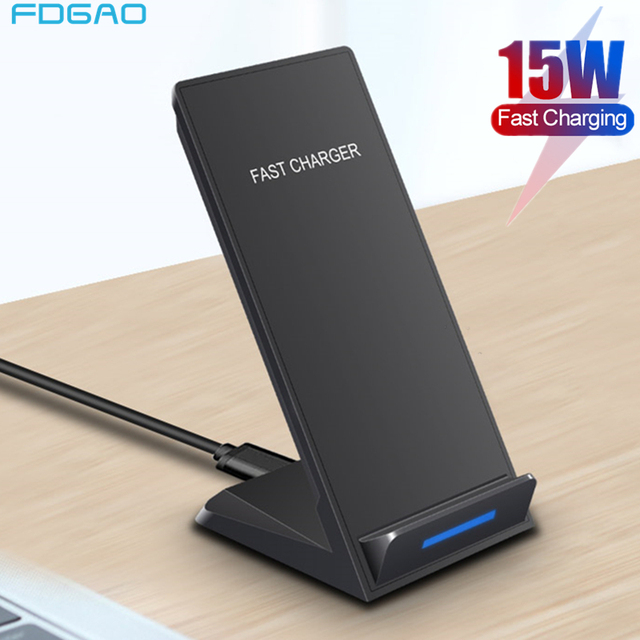 Беспроводное зарядное устройство DCAE 15 Вт, подставка для iPhone SE 2 11 Pro Max XS XR X 8 USB C Qi, док станция для быстрой зарядки для Samsung S20 S10 S9