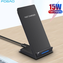 Dcae 15w suporte do carregador sem fio para o iphone se 2 11 pro max xs xr x 8 usb c qi estação doca de carregamento rápido para samsung s20 s10 s9