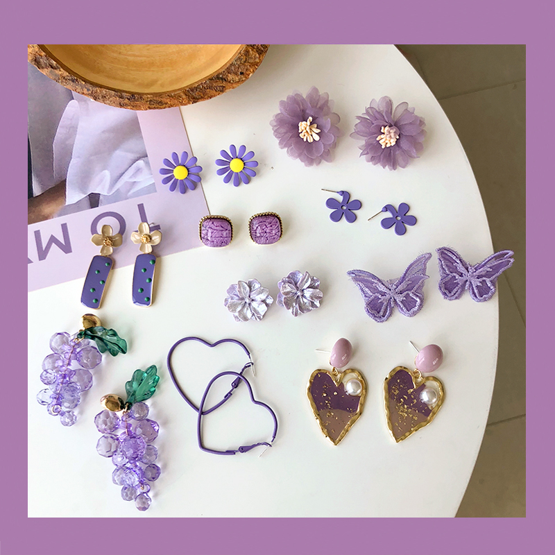 S925 Needle Fashion Jewelry Earrings Fairy Purple Butterfly Resin Enamel Flower Grape Elegant Dangle Drop Earrings Party Gift