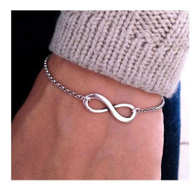 HebeDeer Charm Bracelets Women Number 8 Tassel Bracelet Girl European Rose Gold Color Fashion Jewelry Vintage Zinc Alloy Armband