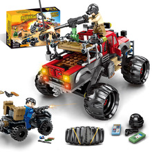 Toys For Children Eat Chicken Giant Wheel Off-Road Vehicle Model Kit Assembled Boy DIY Building Blocks Brick Kids Gift Toy I69 free shipping model rocket vehicle toy is a play for children ball point performance props garage kit toys child s gift