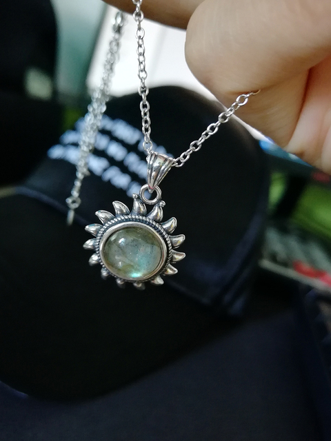 Natural Moonstone 925 silver jewelry Pendants Necklaces For Women Men Sun Geometric Shape Vintage Fashion Woman Pendants Hotsale 5