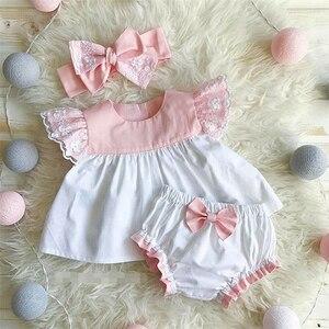 0-24M niemowlę 3 sztuk ubrania koronki góry od sukienek + spodenki pałąk dziewczynka ubrania zestawy bawełna stałe lato Sotf strój zestaw