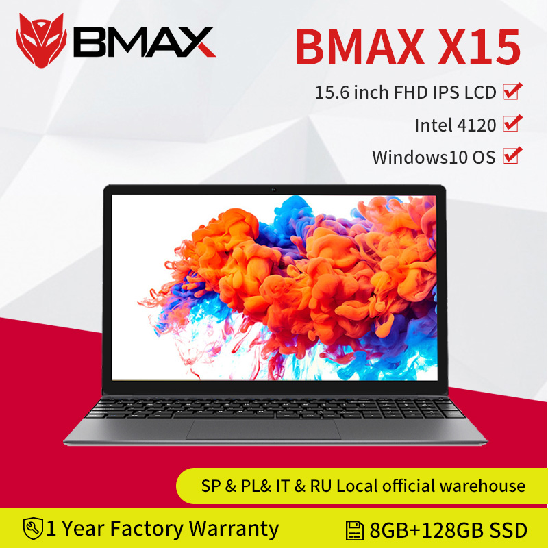Bmax x15 15.6 Polegada portátil intel 4120 cpu qcta núcleo windows10 notebook 1920*1080 8gb ram 128gb rom duplo wifi hdmi usb gamelaptops
