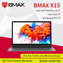 Bmax x15 15.6 Polegada portátil intel 4120 cpu qcta núcleo windows10 notebook 1920*1080 8gb ram 128gb rom duplo wifi hdmi usb gamelaptops