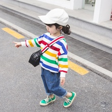 Autumn Baby Girl Clothes 1-6T Children Girls Cartoon Stripes Print Sweater Long Sleeves Casual Round Neck Sweet Tops #15