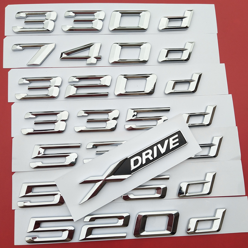DIY Number Letter 316d 318d 320d 325d 330d 520d 530d 535d 550d 740d 750d 760d Emblem for BMW Diesel Oil Fuel Trunk Logo Sticker image