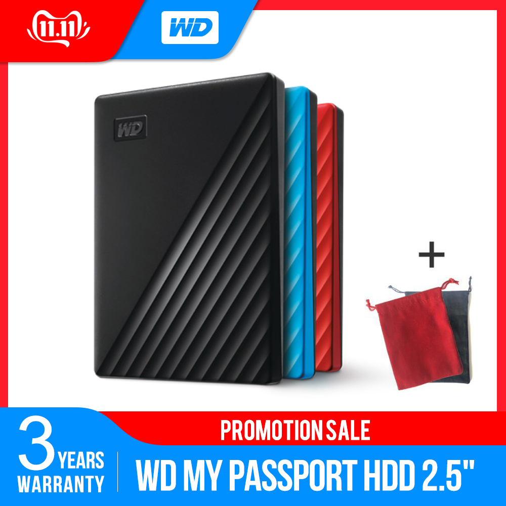 Western Digital My Passport™ 2019 New Design 1TB 2TB 4TB 5TB External Hard Drive Disk WD Backup™ Software Password Protection