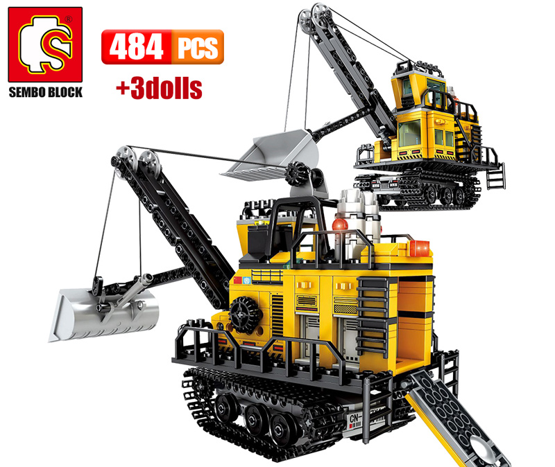 SEMBO 484PCS City Engineering Mining Machinery Forklift Building Blocks Technic Excavator Truck Car Bricks Toys For Children