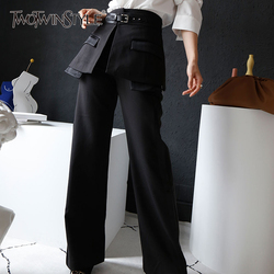 TWOTWINSTYLE Patchwork PU Leather Women's Wide Leg Pant High Waist With Belts Autumn Trouser For Female Fashion 2019 Clothes New