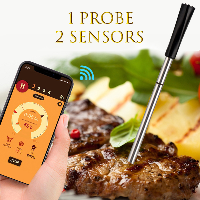 Kitchen Oven Thermometer Wireless Smart Bluetooth BBQ Thermometer Meat Candy Fry Dinning Household Cooking Thermometers