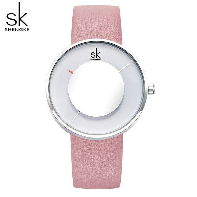 Женские наручные часы с кожаным ремешком Shengke
